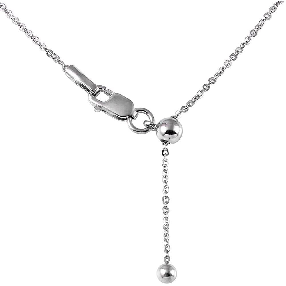 1.4MM Rhodium Tone Adjustable Rolo Chain .925 Solid Sterling Silver Sizes 22""