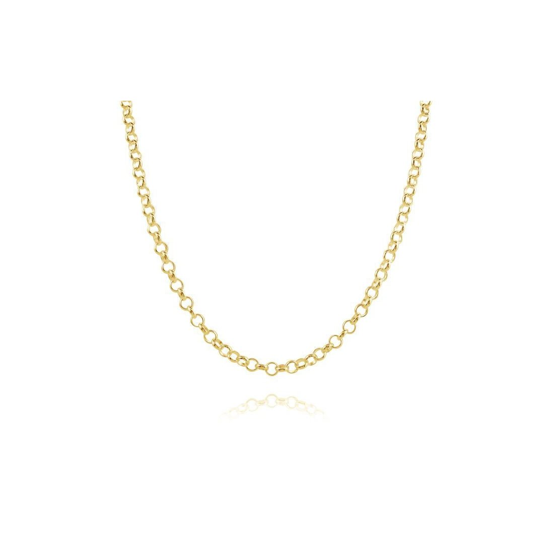 "2.06MM 030 Yellow Gold Rolo Chain .925 Sterling Silver Length ""16-20"""
