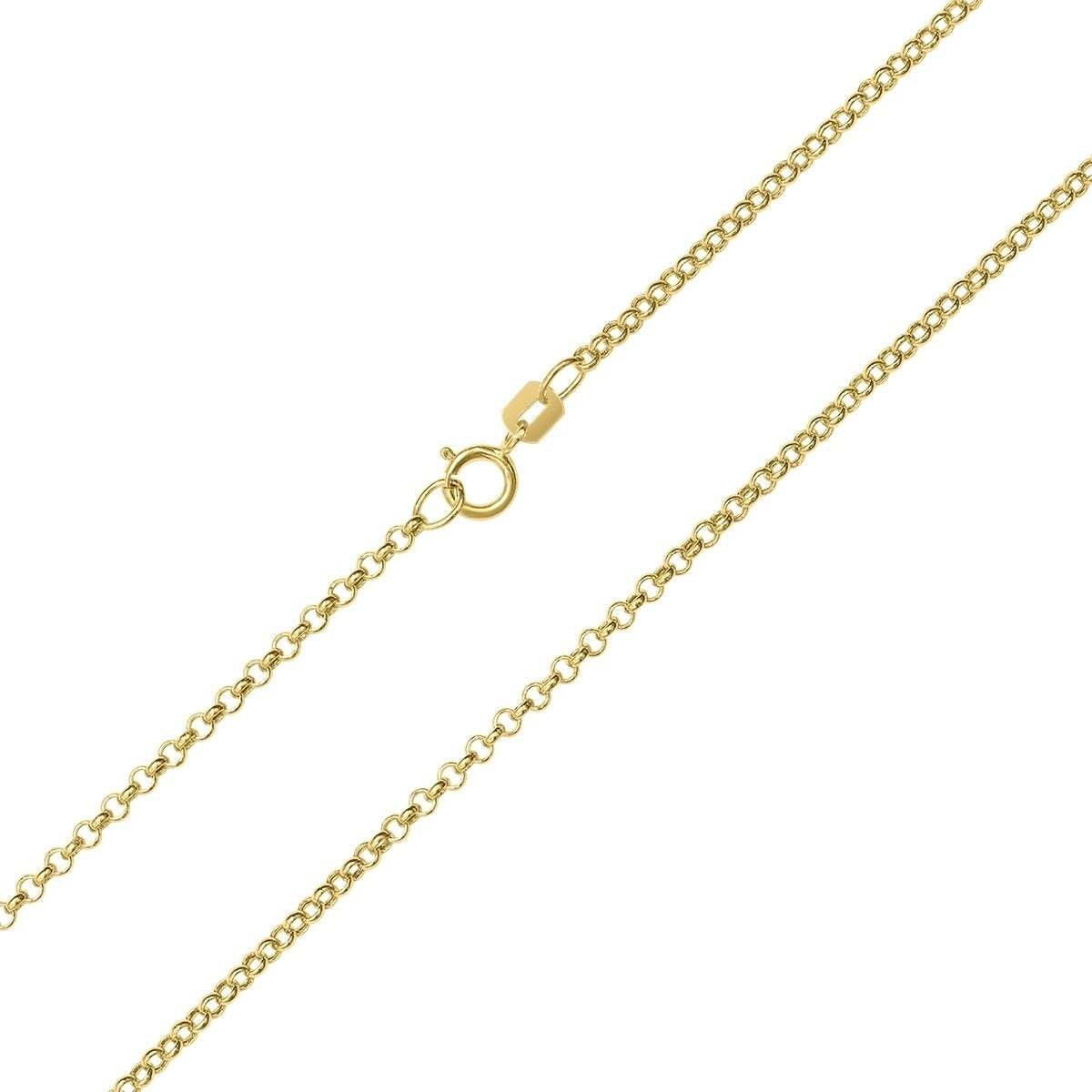 "1.8MM 020 Yellow Gold Rolo Chain .925 Sterling Silver Length ""16-22"""