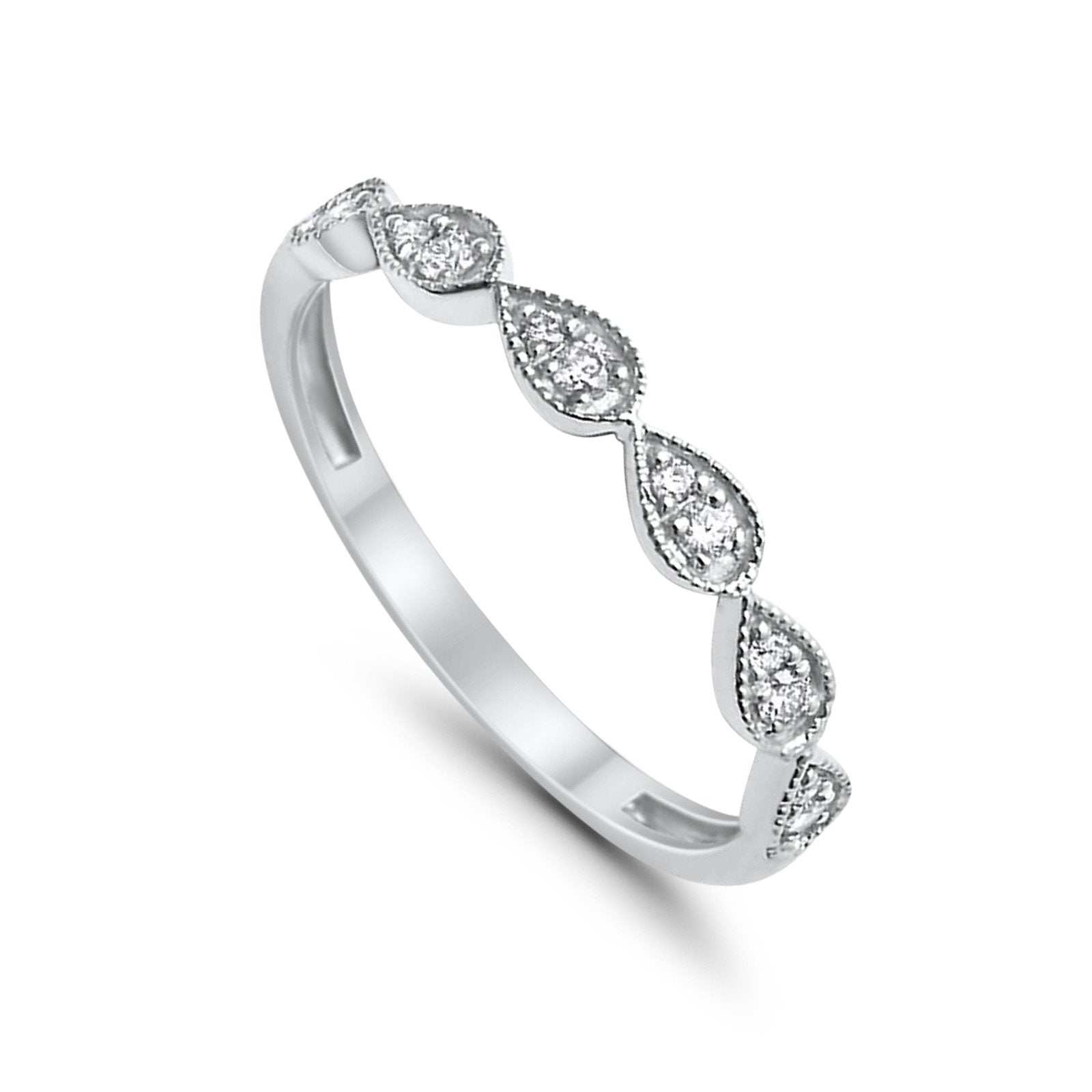 14K G SI White Gold Tear Drop .13ct Diamond Eternity Bands Ring Size 6.5