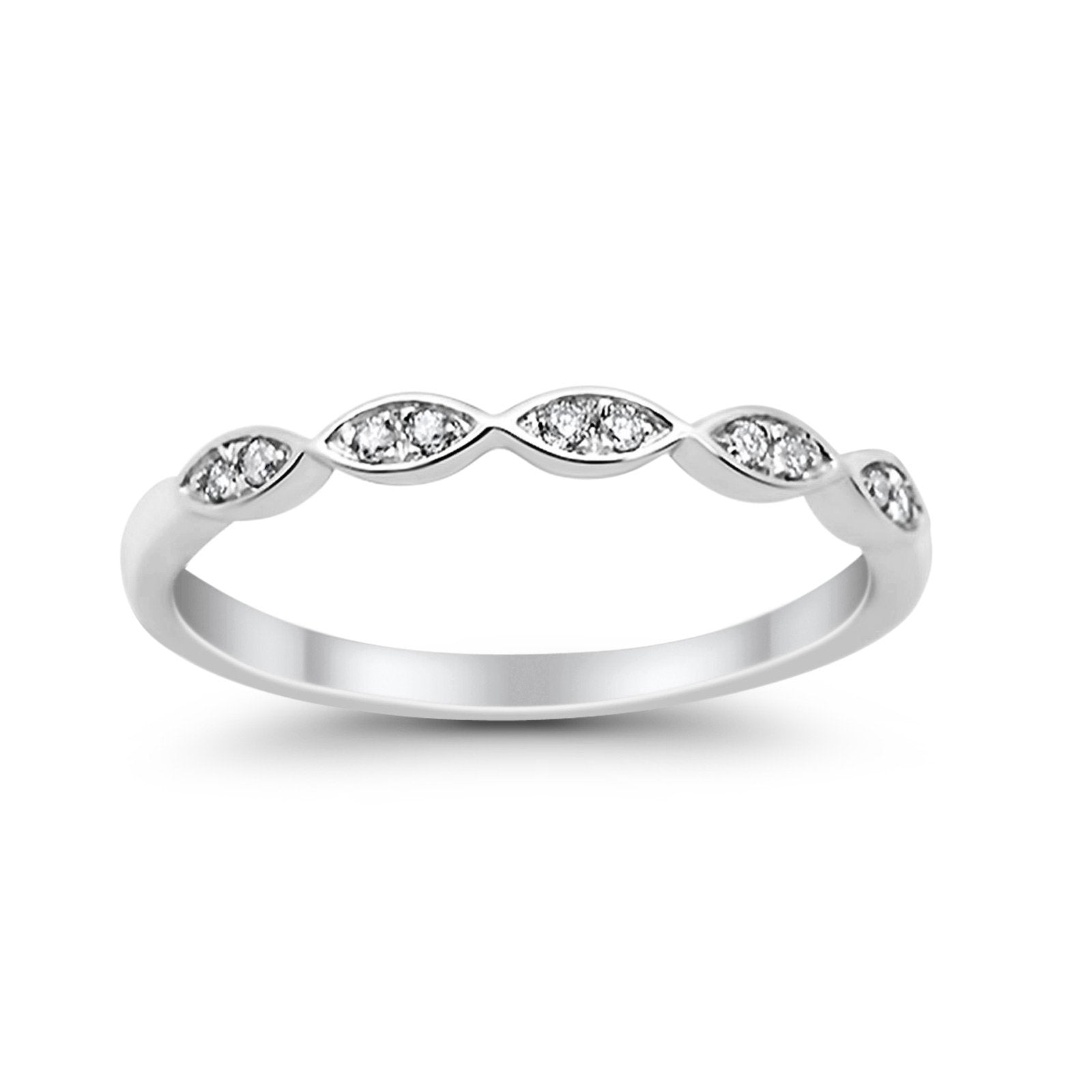 14K White Gold Anniversary .09ct Wedding Stackable Diamond Eternity Bands Size 6.5