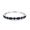 Half Eternity Wedding Band Round Simulated Black CZ 925 Sterling Silver