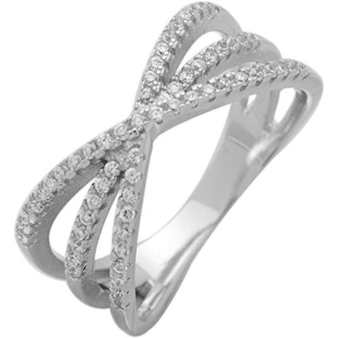 Triple X Crisscross Micro Pave Simulated Clear CZ Accent Ring 925 Sterling Silver