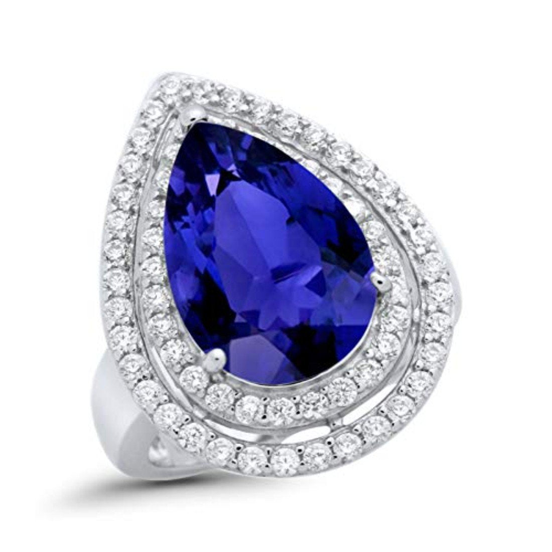 Teardrop Pear Simulated Blue Sapphire CZ Engagement Ring 925 Sterling Silver