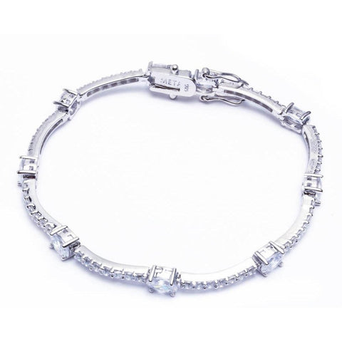 Fashion Bracelet Oval Simulated Stone Round Cubic Zirconia 925 Sterling Silver