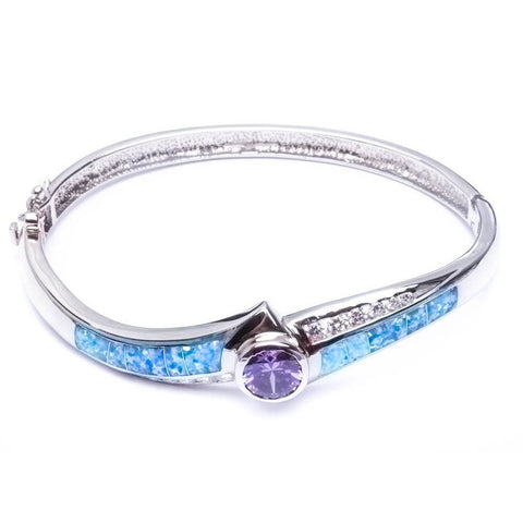 Blue Opal, Russian Cz Amethyst Bangle Style .925 Sterling Silver Bracelet 7.25""