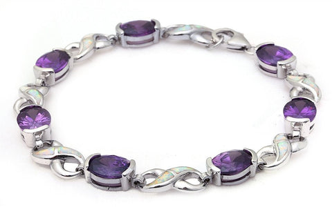 925 Sterling Silver Oval Amethyst White Opal Infinity Symbol