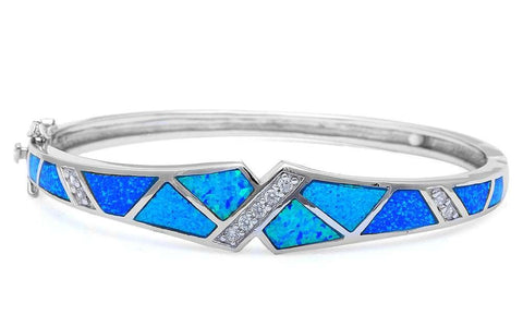 Blue Opal & Cz .925 Sterling Silver Bangle Bracelets