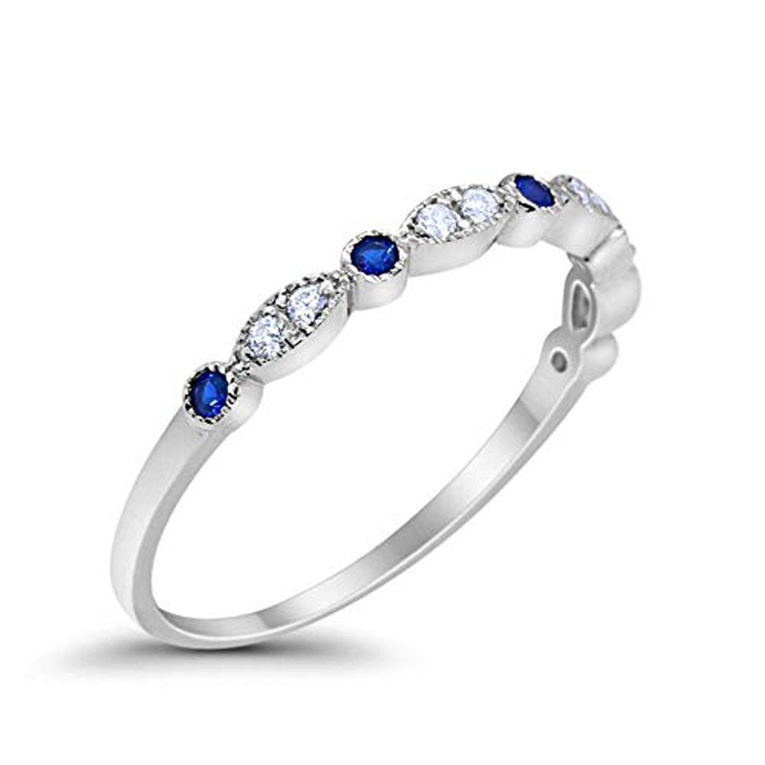 Half Eternity Wedding Band Round Simulated Blue Sapphire CZ 925 Sterling Silver