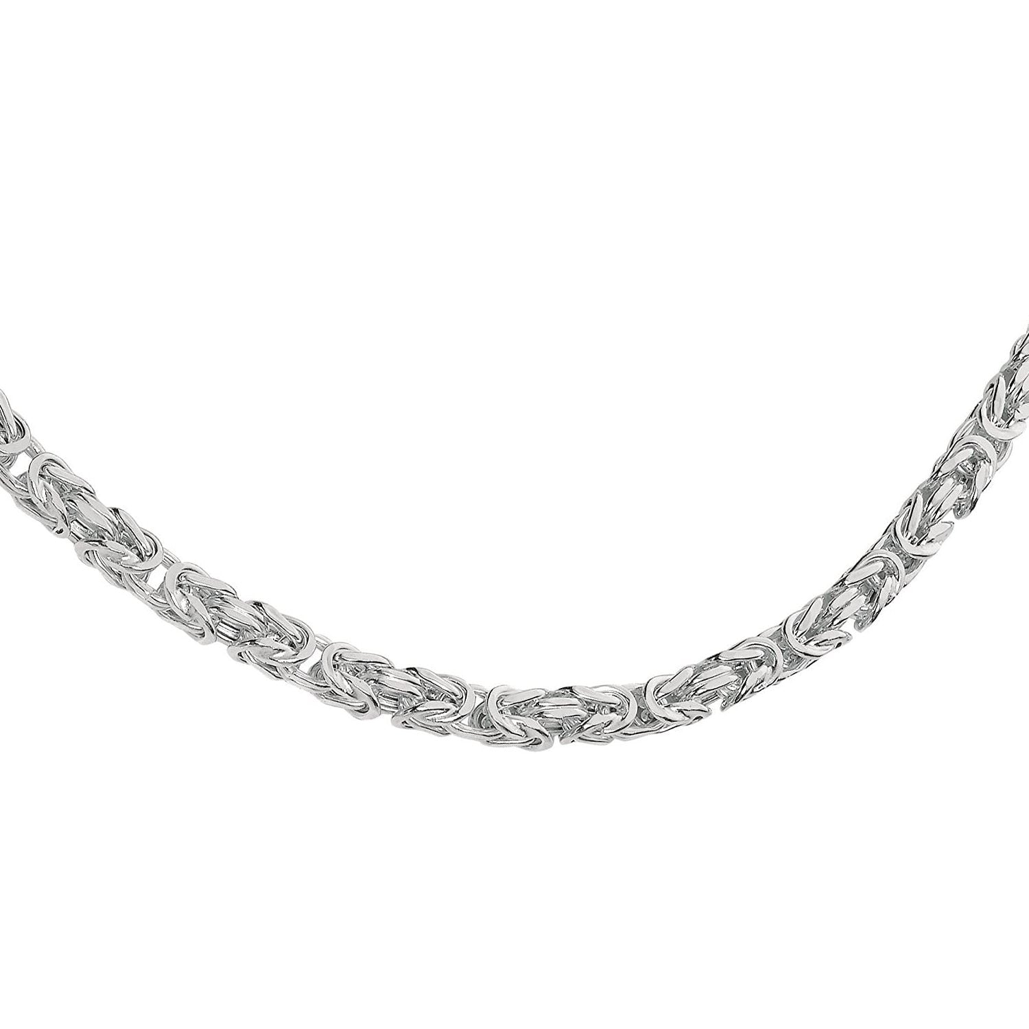"4.5MM 100 Square Byzantine .925 Sterling Silver Chain Sizes 8""-28"" Inch"