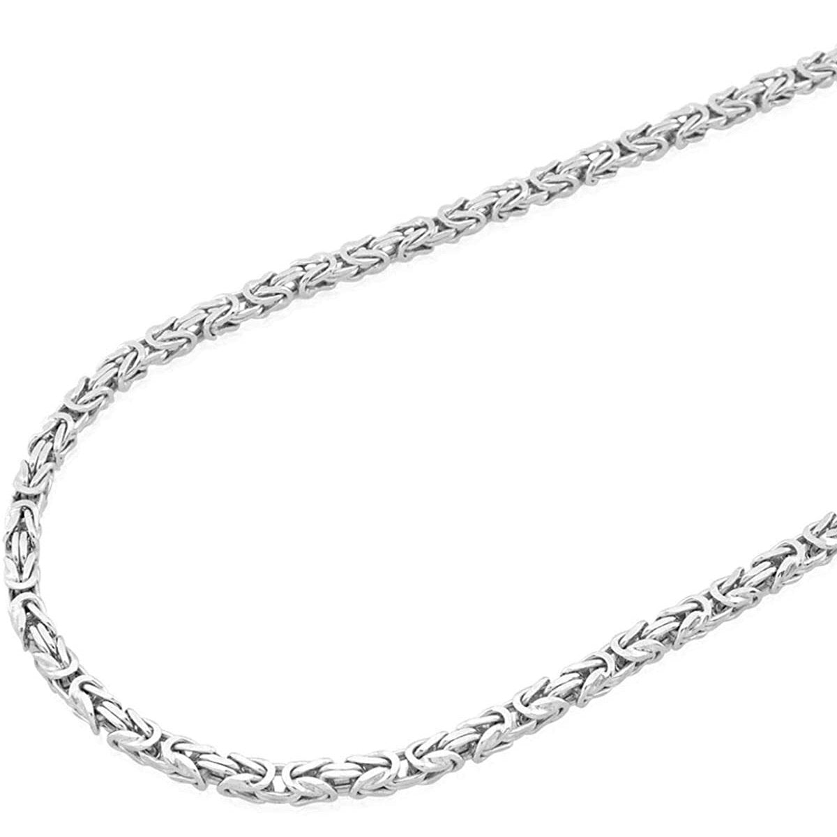 "6MM 140 Square Byzantine .925 Sterling Silver Chain Sizes ""8-28"" Inch"