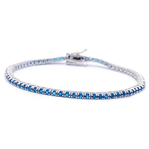 2.25CT Round Light Blue Sapphire .925 Sterling Silver Bracelet