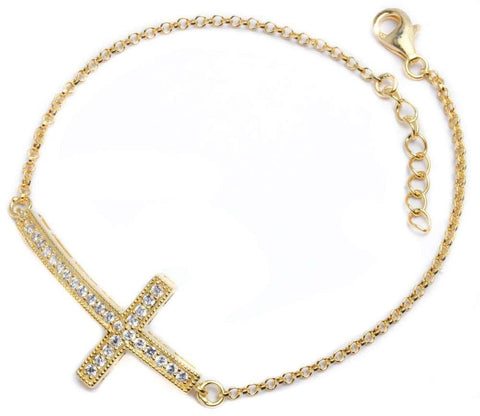 "Yellow Gold Plated CZ Cross .925 Sterling Silver Bracelet 7.5""+1""Ext"