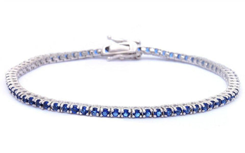 2.25CT Round Blue Sapphire .925 Sterling Silver Bracelet