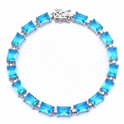 17.50ct Radiant Cut Blue Cz .925 Sterling Silver Bracelet 7 1/4""