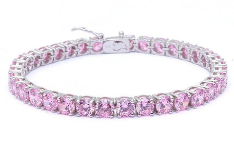 14.5CT Round Pink Cubic Zirconia .925 Sterling Silver Bracelet