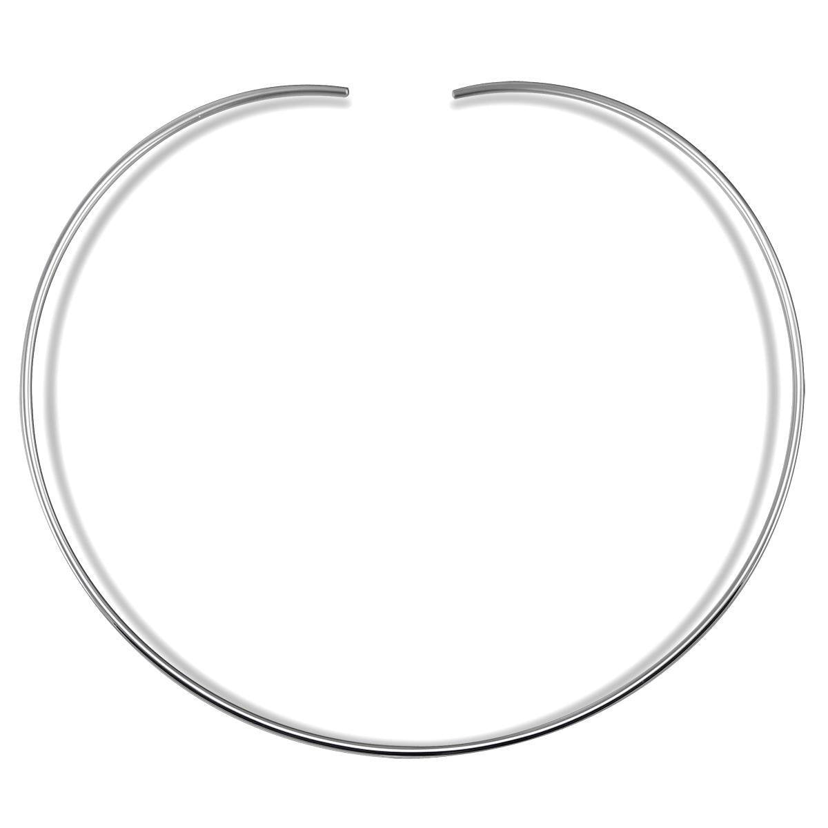 7MM Plain Collar Choker Chain .925 Sterling Silver No Clasp-5.25