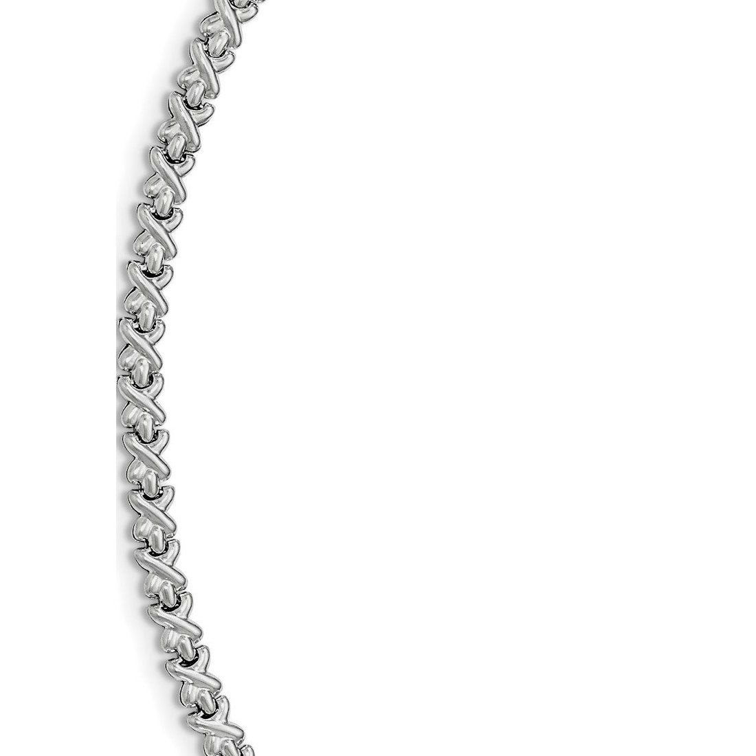 "1.8MM 030 Rhodium Plated CrissCross Chain .925 Sterling Silver Length ""16 to 24"""