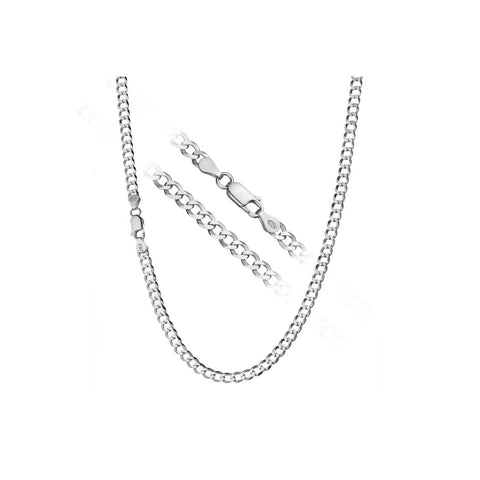 "4MM 100 Curb Chain .925 Sterling Silver Sizes ""7-30"" Inches"