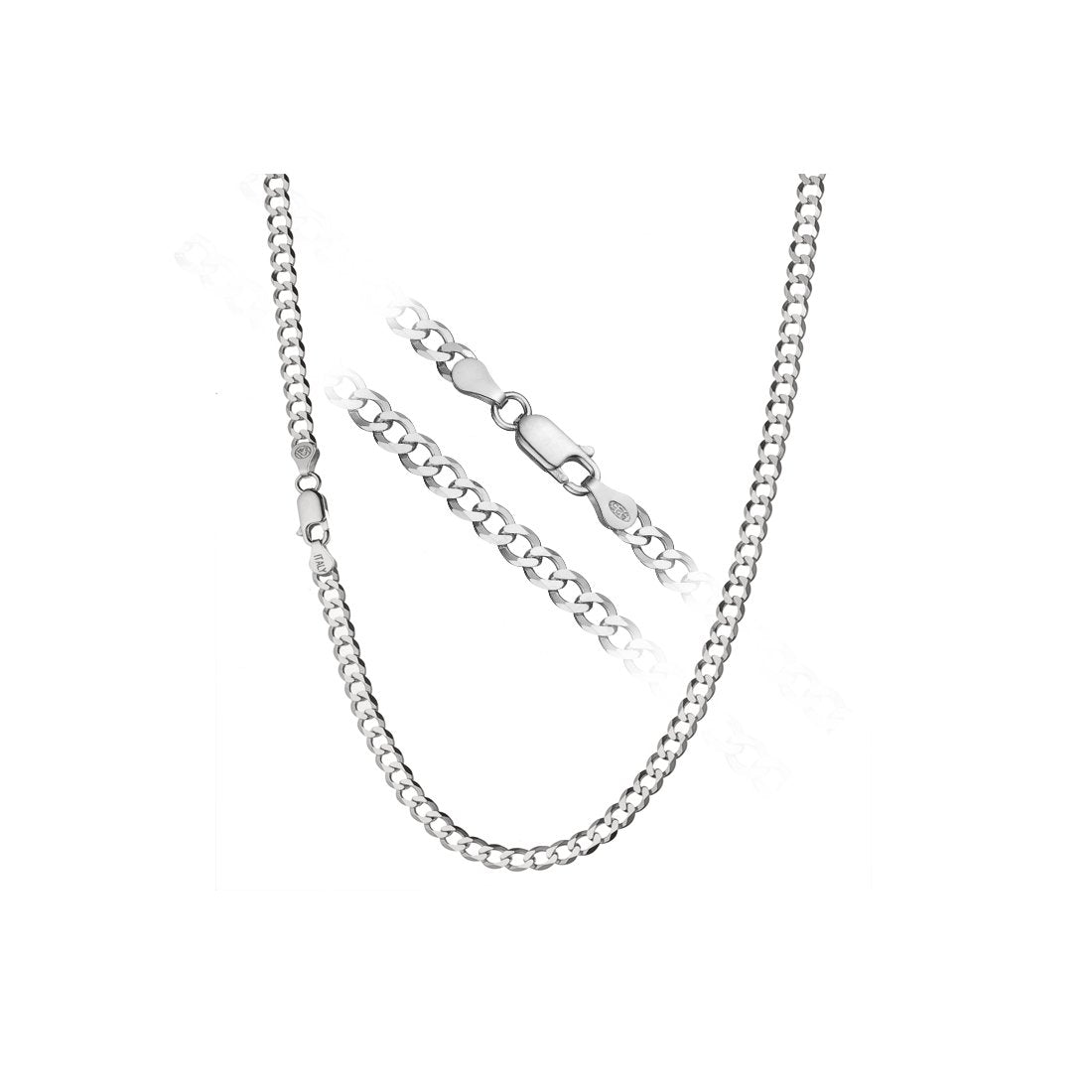 "6MM 150 Rhodium Plated Curb Chain .925 Sterling Silver Length 8""-28"" Inches"