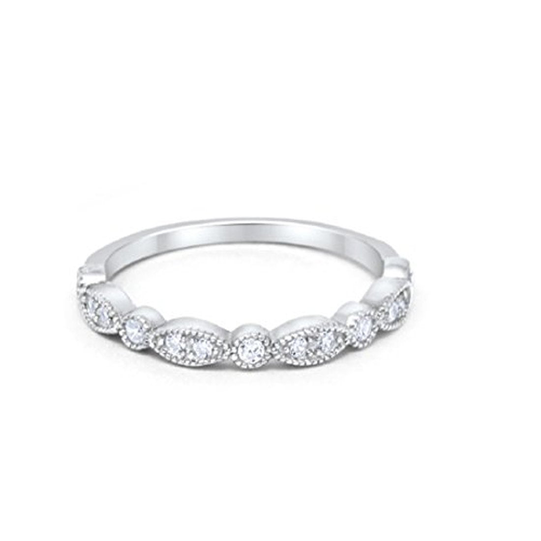 Half Eternity Wedding Band Round Simulated Clear CZ 925 Sterling Silver