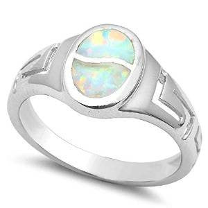 White Fire Opal .925 Sterling Silver Ring 5-10