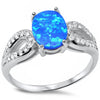 Blue Opal and Cubic Zirconia .925 Sterling Silver Ring Sizes 5-10
