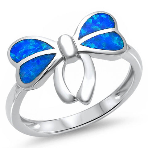Blue Opal Ribbon .925 Sterling Silver Ring Sizes 5-10