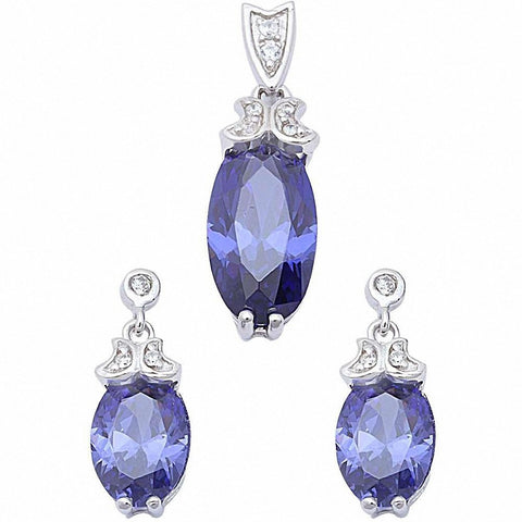Tanzanite & Cz .925 Sterling Silver Earrings & Pendant Set
