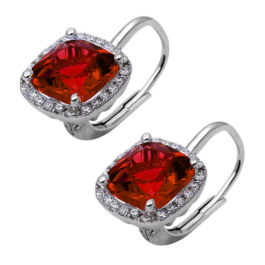 Cushion Halo Leverback Earrings Round Cubic Zirconia 925 Sterling Silver