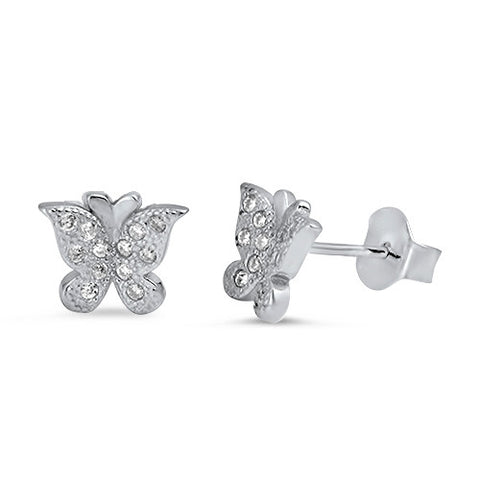 Round Simulated Clear CZ Solid 925 Sterling Silver Butterfly Stud Earring