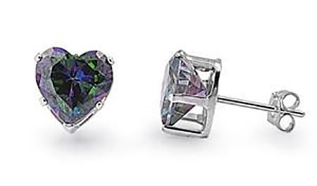 Silver - 7mm  Heart CZ Stud Earrings (Rainbow Topaz)