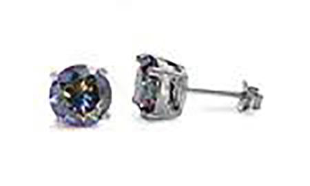 Silver - 4mm  Round Rainbow Topaz CZ Earrings - Casting