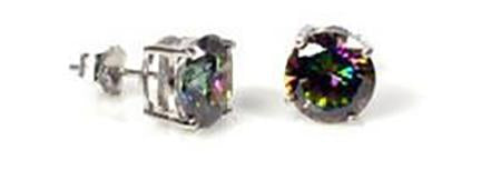 Silver - 5mm  Round Rainbow Topaz CZ Earrings - Casting