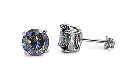 Silver - 7mm  Round Rainbow Topaz CZ Earrings - Casting