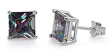 Silver - 4mm  Square Rainbow Topaz CZ Earrings - Casting