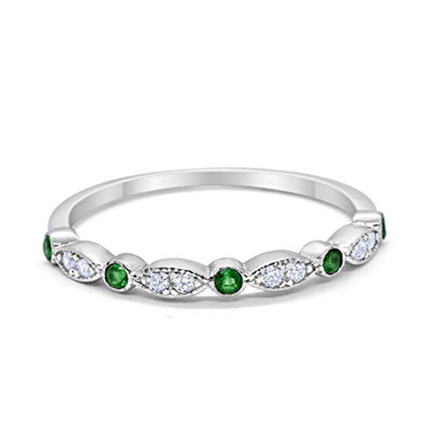 Half Eternity Wedding Band Round Simulated Green Emerald CZ 925 Sterling Silver