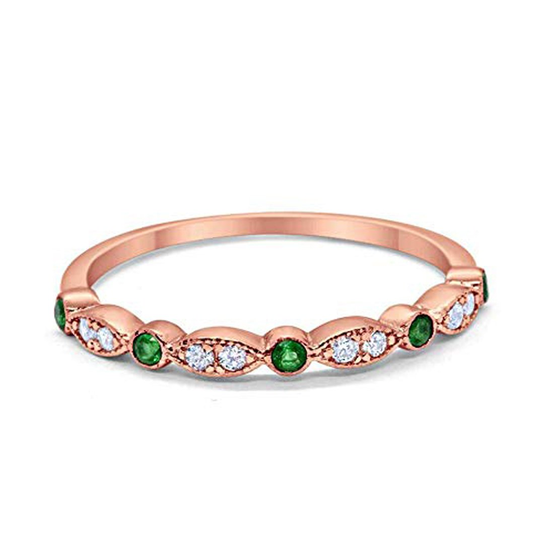 Half Eternity Wedding Band Round Rose Tone, Simulated Green Emerald CZ 925 Sterling Silver