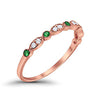 Half Eternity Wedding Band Round Simulated Green Emerald CZ Rose Tone 925 Sterling Silver