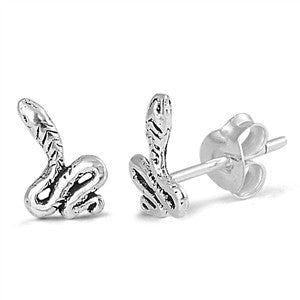 Tiny Snake Stud Earrings Solid 925 Sterling Silver