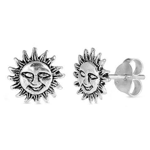 8mm Tiny Sun Earrings Smiling Sun Stud Post Earrings 925 Sterling Silver Choose Color