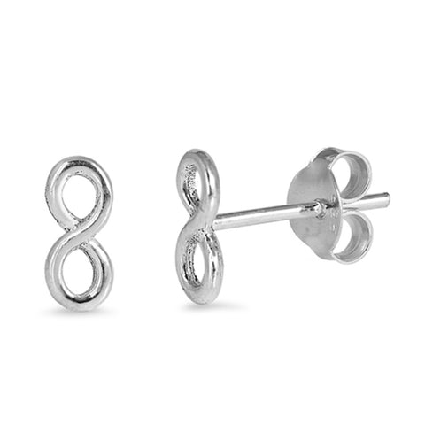3mm Tiny Small Infinity Stud Post Earrings 925 Sterling Silver Infinity Earrings Choose Color