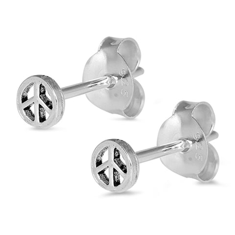 5mm Round Peace Stud Post Earrings 925 Sterling Silver Peace Earring Small Tiny Choose Color