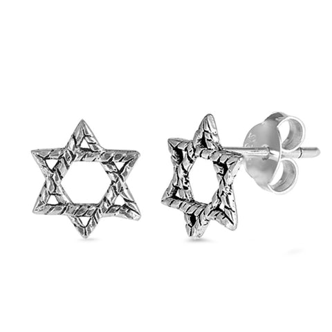 9mm Twisted Design Star of David Stud Post Earrings 925 Sterling Silver Choose Color