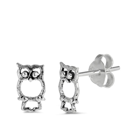 8mm Tiny Owl Stud Post Earrings 925 Sterling Silver Owl Earring Choose Color