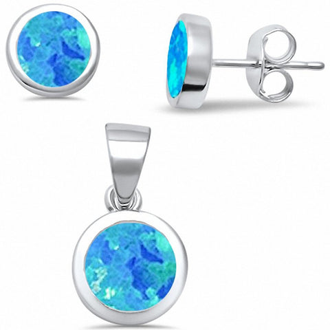 Solitaire Jewelry Set Bezel Created Opal 925 Sterling Silver Choose Color
