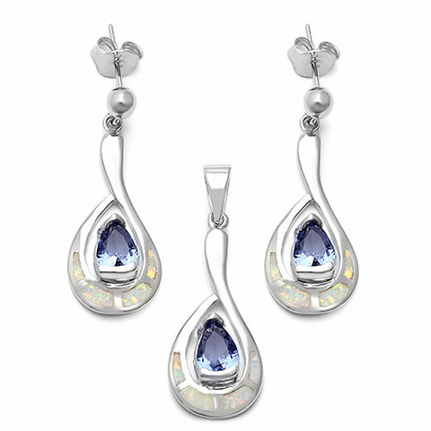 Jewelry Set Pear Simulated Tanzanite Created Opal 925 Sterling Silver Choose Color