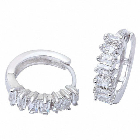 Baguette Style Cz Hoop .925 Sterling Silver Earrings
