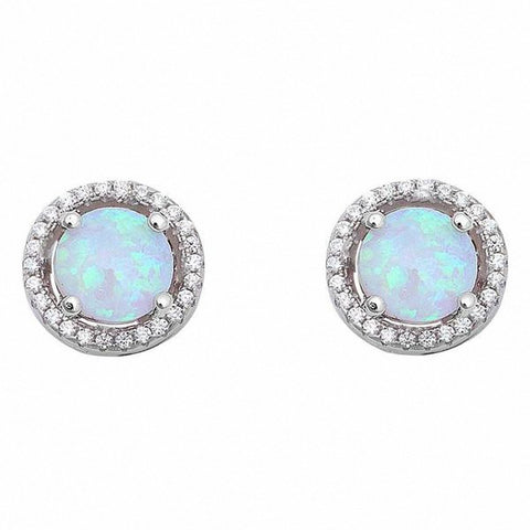 Halo Created Opal Earrings Round Simulated Cubic Zirconia 925 Sterling Silver Choose Color