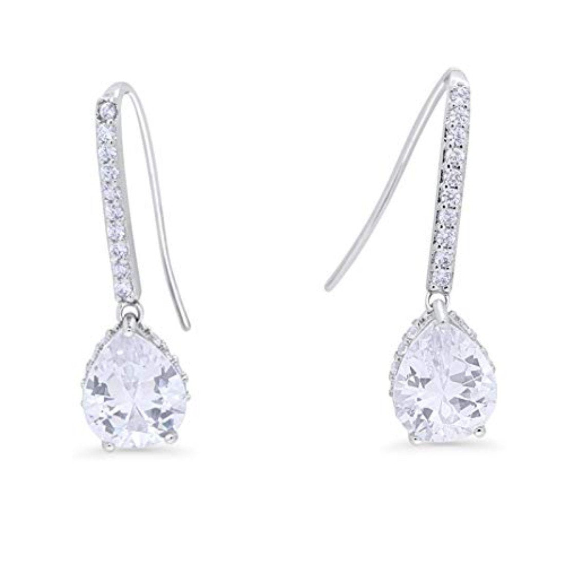 Teardrop Pear Dangling Fish Hook Earrings Simulated CZ 925 Sterling Silver Bridesmaid